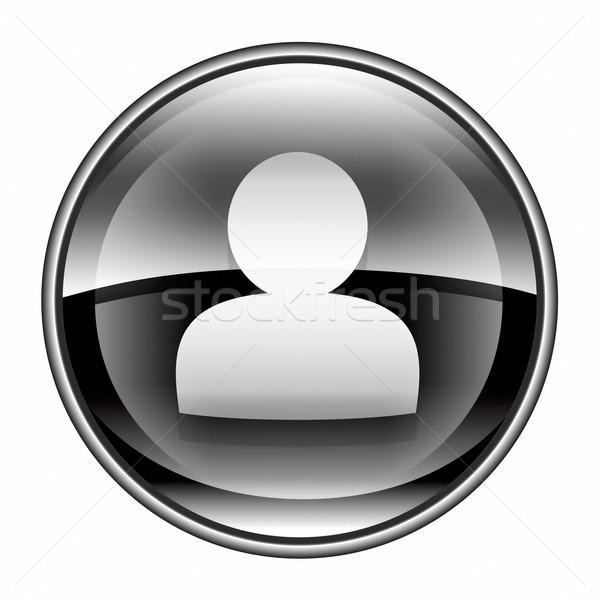 Felhasználó ikon fekete izolált fehér nő Stock fotó © zeffss