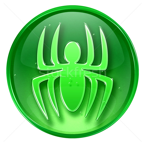 Virus icon green, isolated on white background.  Stock photo © zeffss