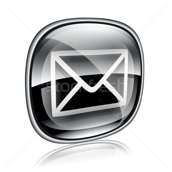 конверт икона черный стекла изолированный белый Сток-фото © zeffss