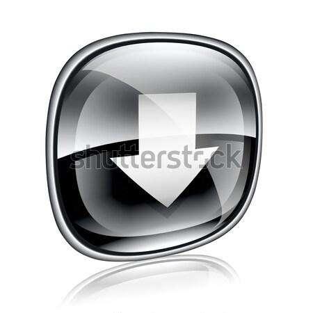 Icône de téléchargement noir verre isolé blanche internet Photo stock © zeffss