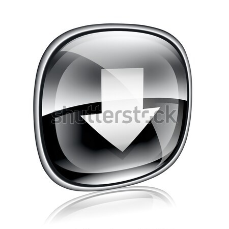 Simgesi indir siyah cam yalıtılmış beyaz Internet Stok fotoğraf © zeffss