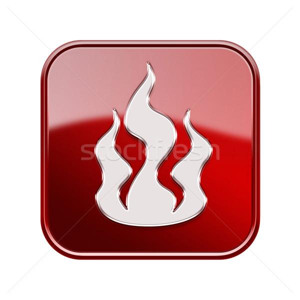 Stock fotó: Tűz · ikon · piros · izolált · fehér · internet