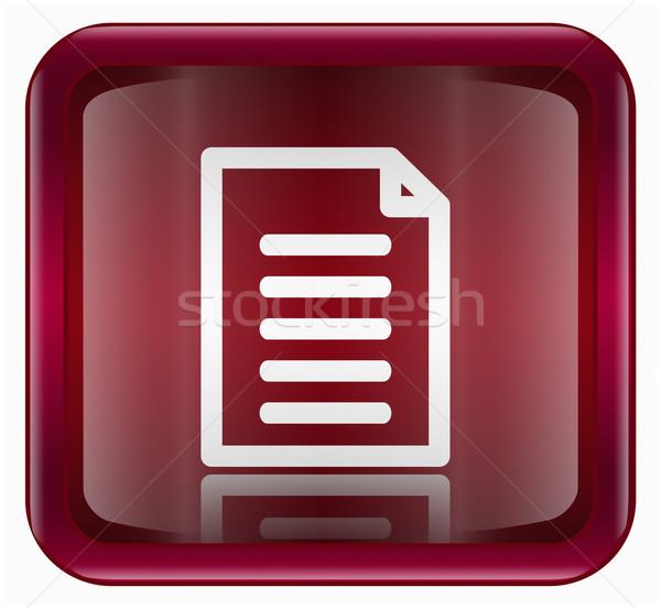 Document icon donkere Rood geïsoleerd witte Stockfoto © zeffss