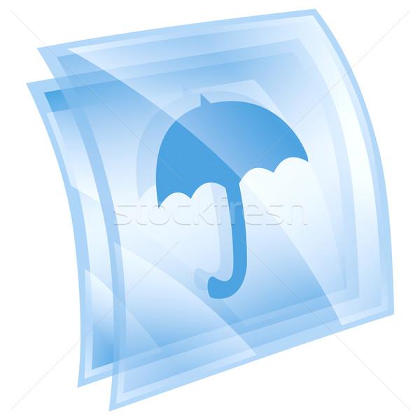Paraplu icon Blauw geïsoleerd witte web Stockfoto © zeffss