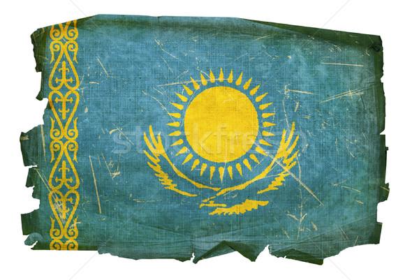 Kazakhstan Flag old, isolated on white background. Stock photo © zeffss