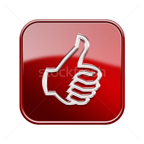 thumb up icon glossy red, isolated on white background Stock photo © zeffss