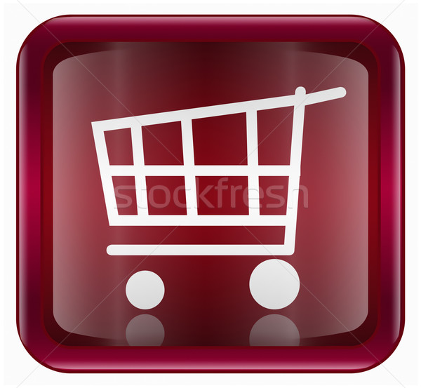Stock photo: shopping cart icon dark red, isolated on white background