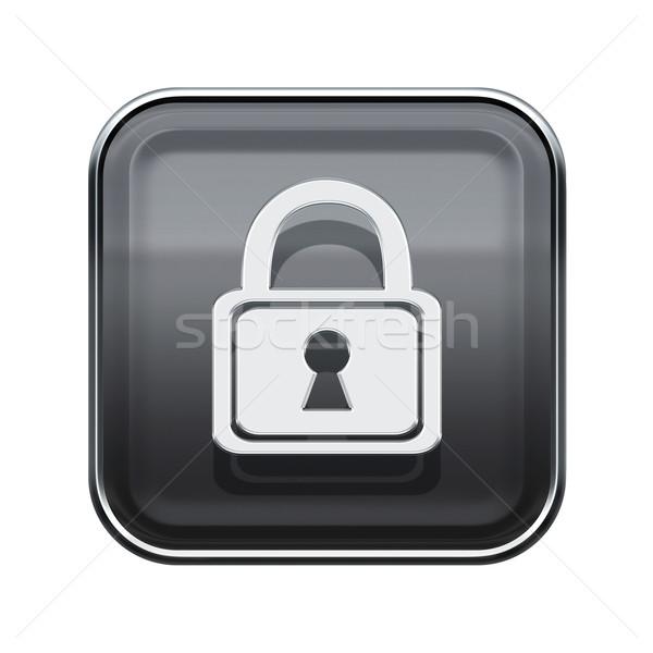 Lock icon glossy grey, isolated on white background Stock photo © zeffss