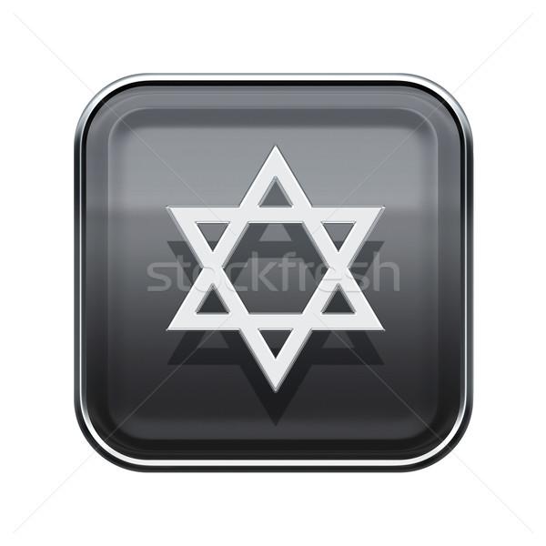 David star icon glossy grey, isolated on white background Stock photo © zeffss
