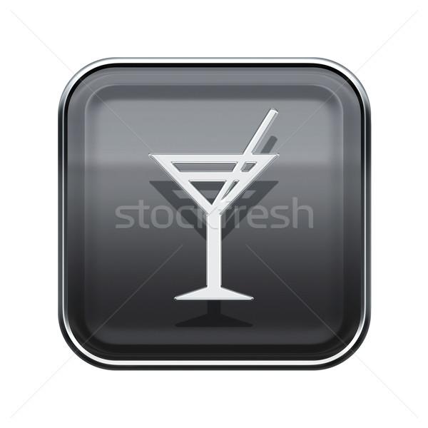 wineglass icon glossy grey, isolated on white background. Stock photo © zeffss