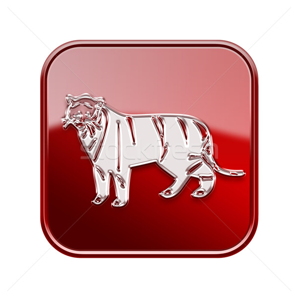 Stock photo: Tiger Zodiac icon red, isolated on white background.