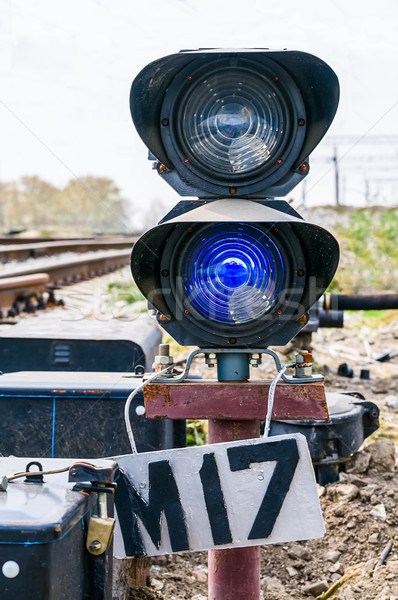 Stock photo: traffic light on old railway line.