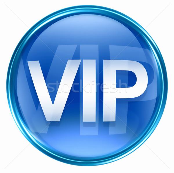 Stockfoto: Vip · icon · Blauw · geïsoleerd · witte · business