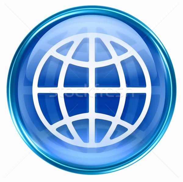 Mundo ícone azul isolado branco luz Foto stock © zeffss