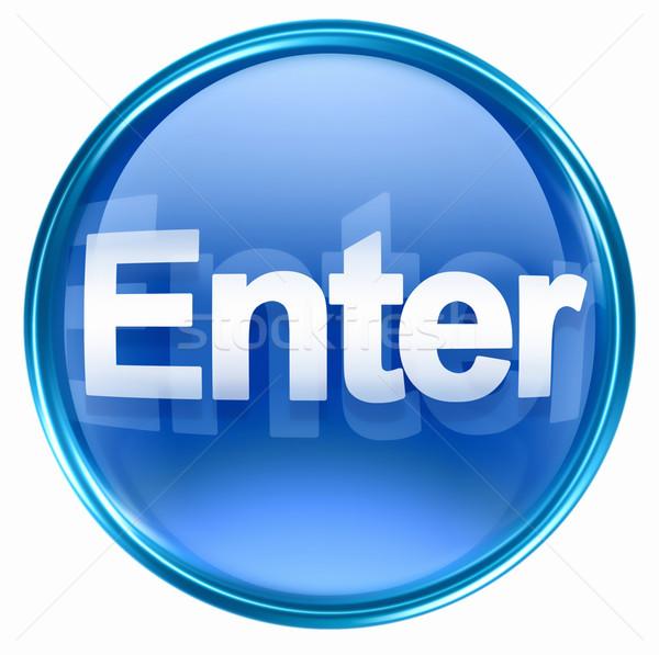 Belépés ikon kék izolált fehér számítógép Stock fotó © zeffss