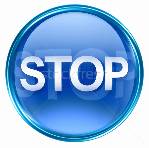 Stop icon blue, isolated on white background Stock photo © zeffss