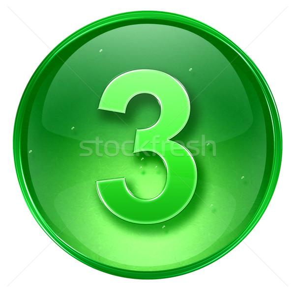 Сток-фото: числа · три · икона · зеленый · изолированный · белый