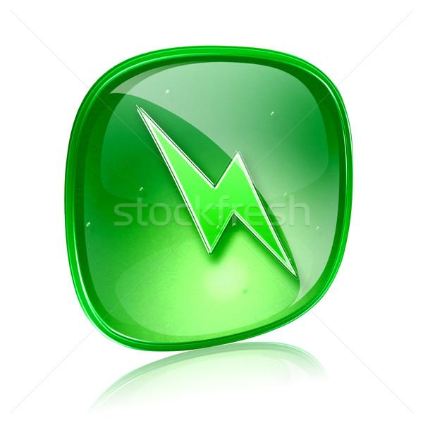 Foto stock: Relâmpago · ícone · verde · vidro · isolado · branco