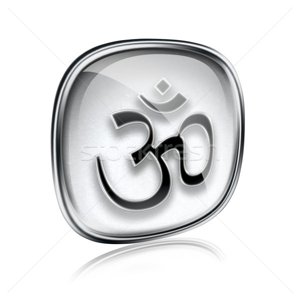 Om Symbol icon grey glass, isolated on white background. Stock photo © zeffss