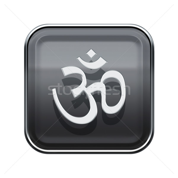 Om Symbol icon glossy grey, isolated on white background Stock photo © zeffss
