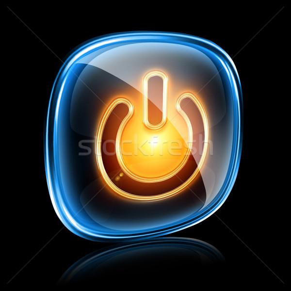 Power icon neon, isolated on black background Stock photo © zeffss