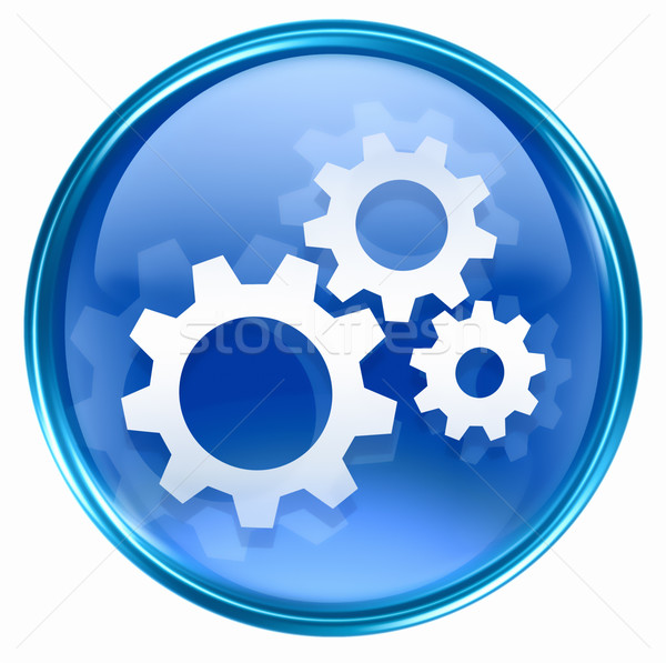 Narzędzia ikona niebieski odizolowany biały budowy Zdjęcia stock © zeffss