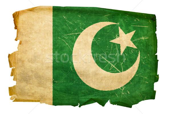 Pakistan bayrak eski yalıtılmış beyaz kâğıt Stok fotoğraf © zeffss