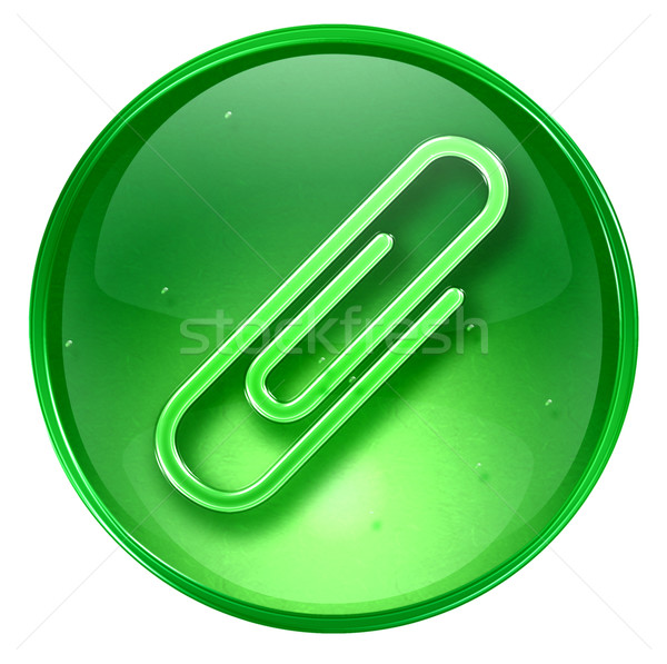 скрепку икона зеленый изолированный белый компьютер Сток-фото © zeffss