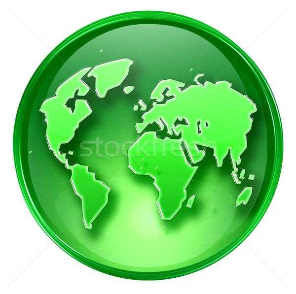 Wereld icon groene geïsoleerd witte business Stockfoto © zeffss