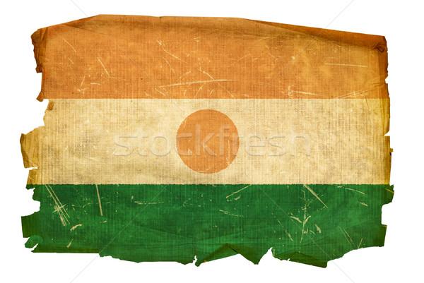Nigerian Flag old, isolated on white background Stock photo © zeffss