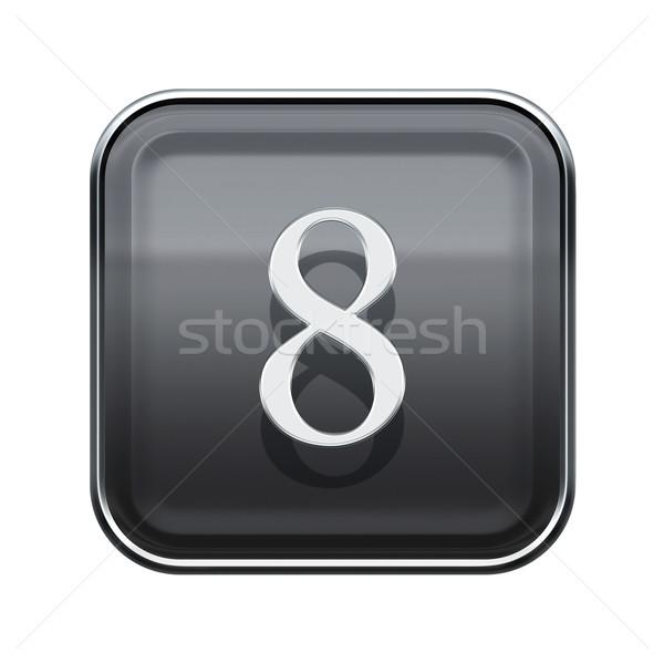 Número oito cinza isolado branco Foto stock © zeffss