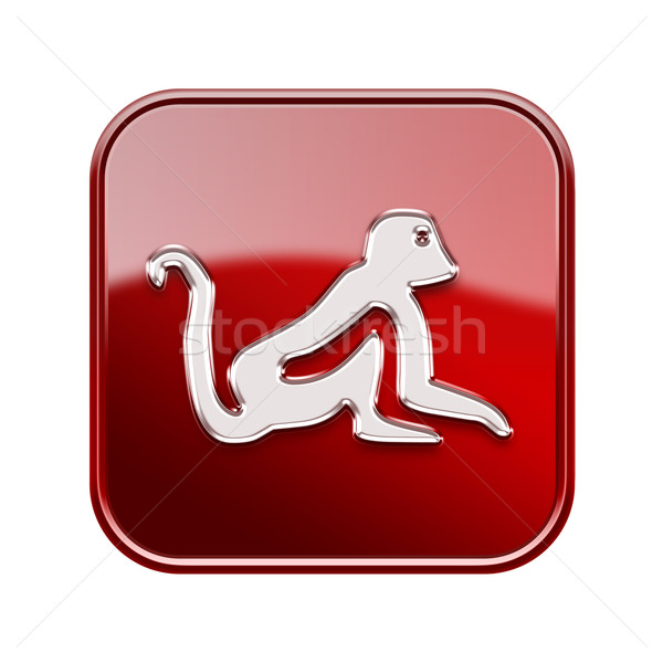Stock photo: Monkey Zodiac icon red, isolated on white background.