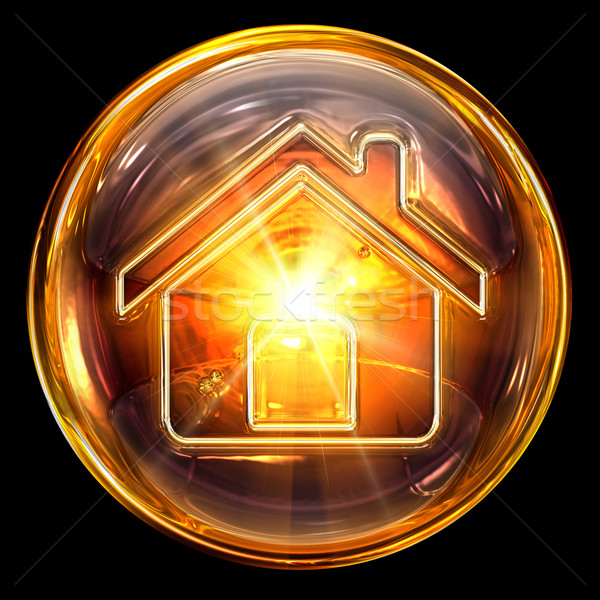 House icon fire, isolated on black background Stock photo © zeffss