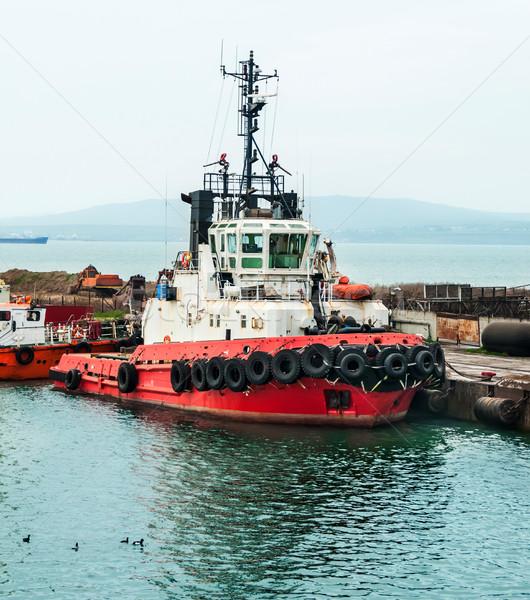 Zdjęcia stock: Starych · opony · łuk · statku · używany · ochrony