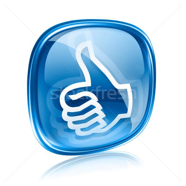 Pollice up icona blu vetro approvazione Foto d'archivio © zeffss
