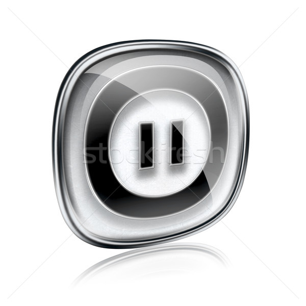 Pause icon grey glass, isolated on white background. Stock photo © zeffss