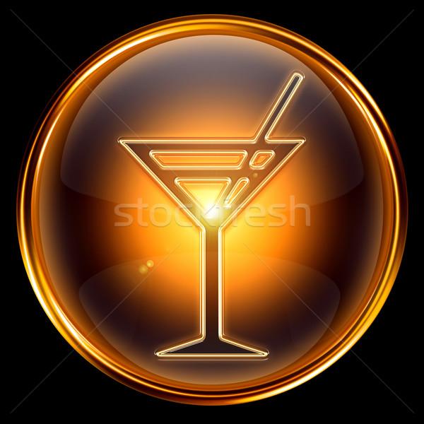 wine-glass icon golden, isolated on black background. Stock photo © zeffss