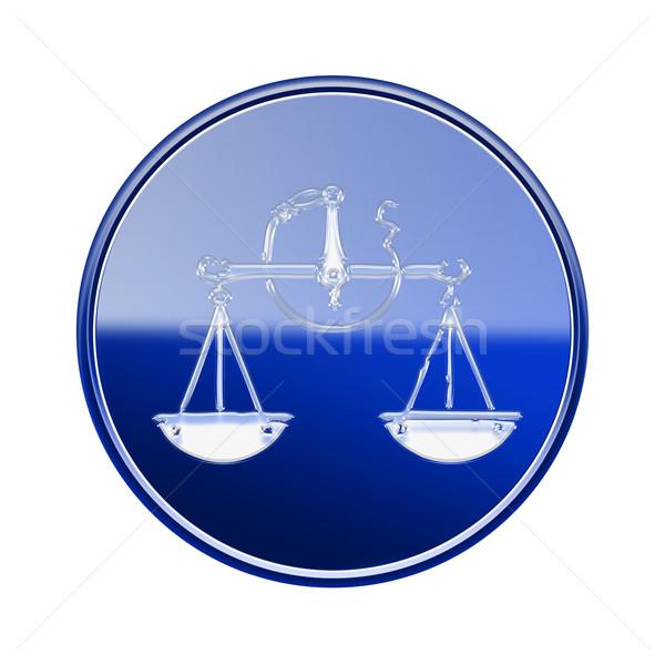 Libra zodiac icon blue, isolated on white background Stock photo © zeffss