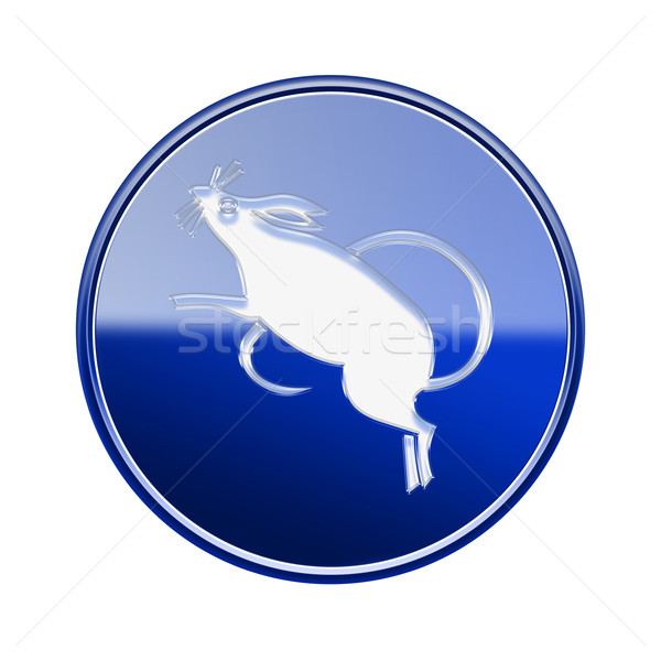 Rata zodíaco icono azul aislado blanco Foto stock © zeffss