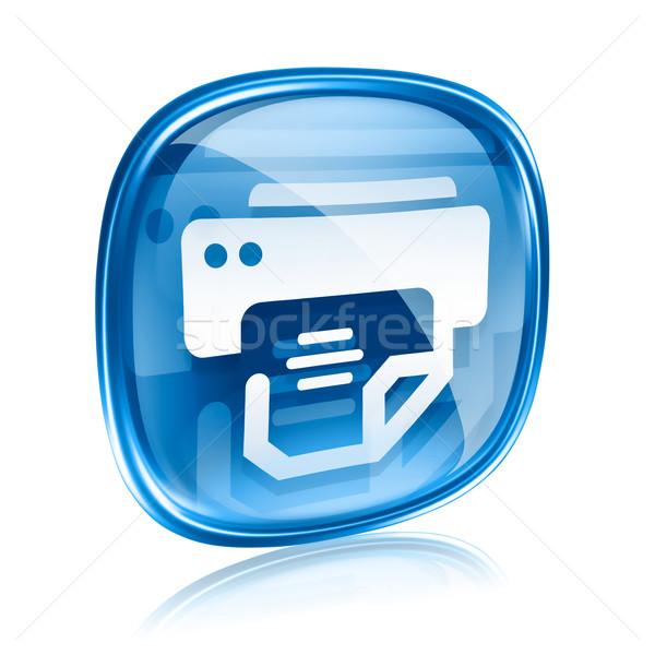 Stock fotó: Nyomtató · ikon · kék · üveg · izolált · fehér