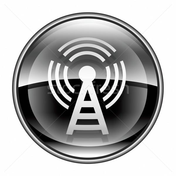WI-FI tower icon black, isolated on white background Stock photo © zeffss