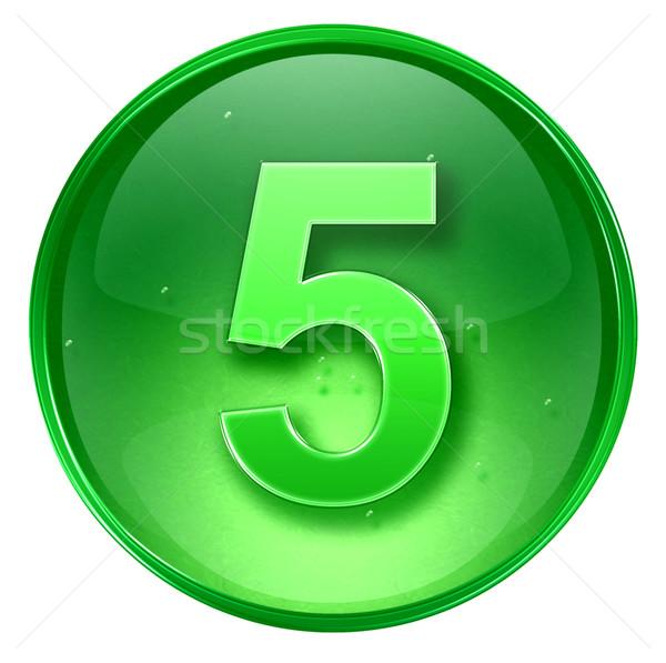 Сток-фото: числа · пять · икона · зеленый · изолированный · белый