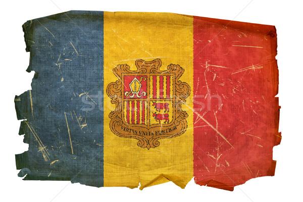 Andorra Flagge alten isoliert weiß Malerei Stock foto © zeffss