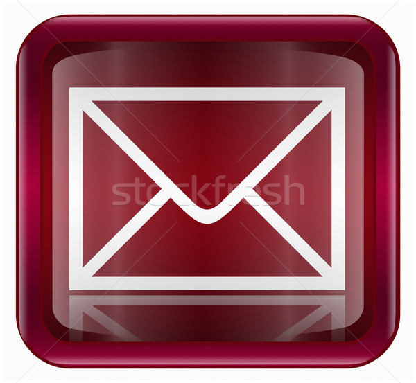 Envelope ícone escuro vermelho isolado branco Foto stock © zeffss