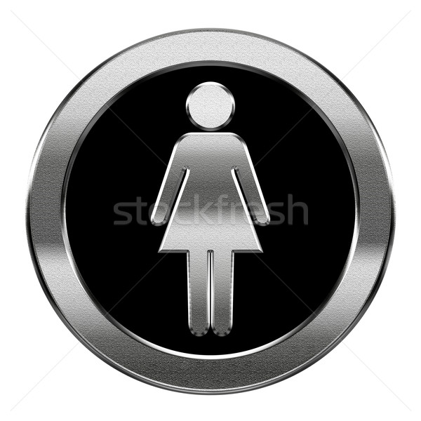 woman icon silver, isolated on white background Stock photo © zeffss