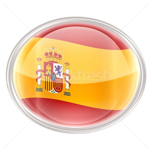 Spanje vlag icon geïsoleerd witte internet Stockfoto © zeffss