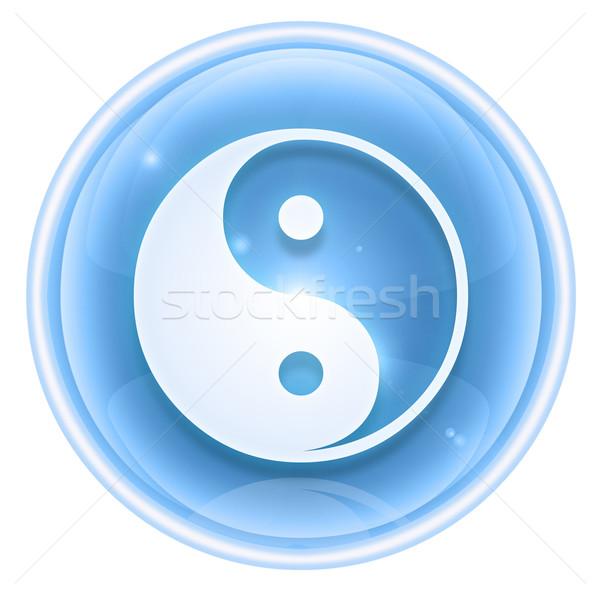 Yin yang simbolo icona ghiaccio isolato bianco Foto d'archivio © zeffss