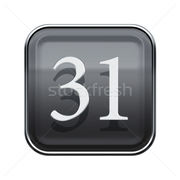 Trente une icône gris isolé Photo stock © zeffss