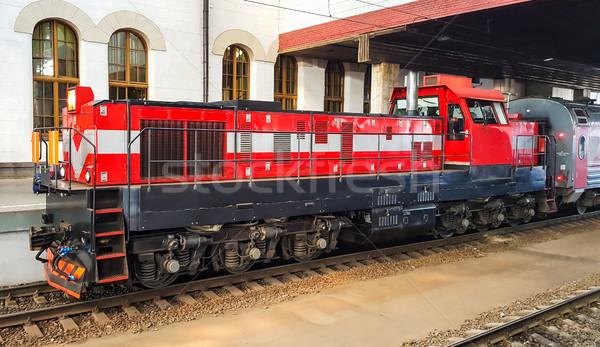 Vasútállomás vágány mozdony út város absztrakt Stock fotó © zeffss