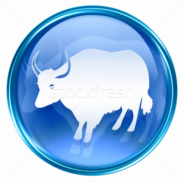 Stock photo:  Ox Zodiac icon blue, isolated on white background.